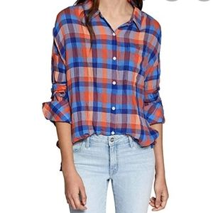 Sanctuary Blue Plaid Long Sleeve Shirt